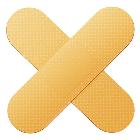 crossed adhesive band aids on white background vector illustration