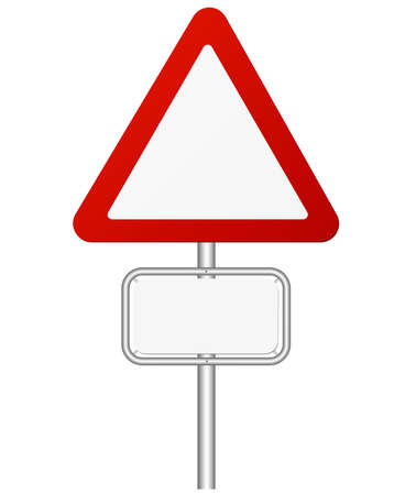 red and white traffic warning sign on pole vector illustration Stock Illustratie
