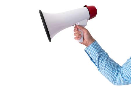 hand holding megaphone or bullhorn isolated on white background