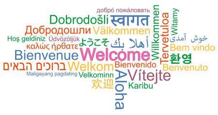 BIENVENIDO nube de palabras en muchos idiomas diferentes ilustración vectorial
