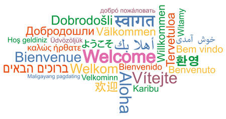 WELCOME word cloud in many different languages vector illustration 向量圖像