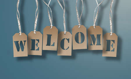 WELCOME on set of brown hang tags or cardboard labels against light blue background