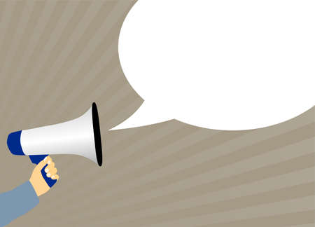 hand holding megaphone or bullhorn with speech bubble vector illustration