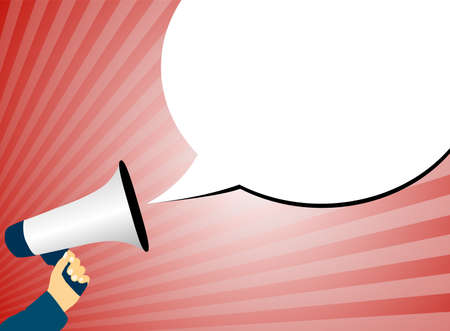 hand holding megaphone or bullhorn against red background with rays of light and speech bubble vector illustration Çizim