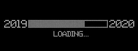 pixelated progress bar year 2019 to 2020 loading vector illustration