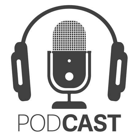icône ou logo de podcast simple avec casque et illustration vectorielle de microphone Logo