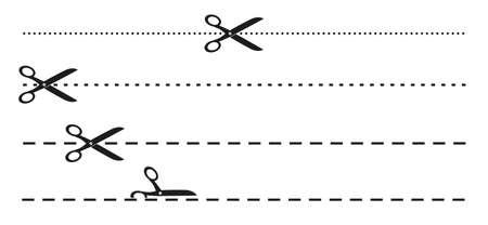 semplici forbici piatte in bianco e nero e icona della linea di perforazione punteggiata o tratteggiata illustrazione vettoriale Vettoriali