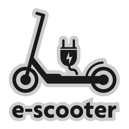elektryczny skuter elektryczny symbol e-skutera z ilustracją wektorową wtyczki