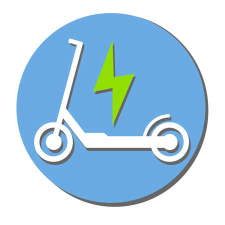 electric push scooter e-scooter symbol with plug vector illustration