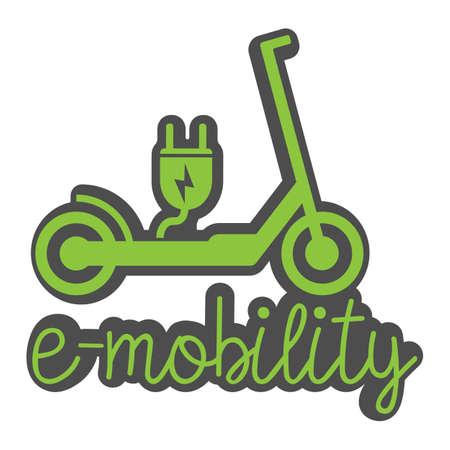 Scooter électrique e-scooter symbole avec prise et texte e-mobility vector illustration