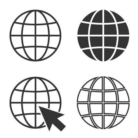simple globe icon set and internet symbol vector illustration  イラスト・ベクター素材