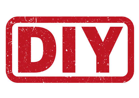 DIY rouge faites-le vous-même illustration vectorielle d'impression de tampon en caoutchouc