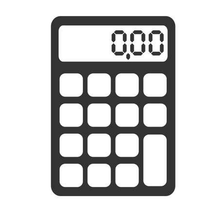 einfache flache schwarz-weiße Taschenrechner-Symbol-Vektor-Illustration Vektorgrafik