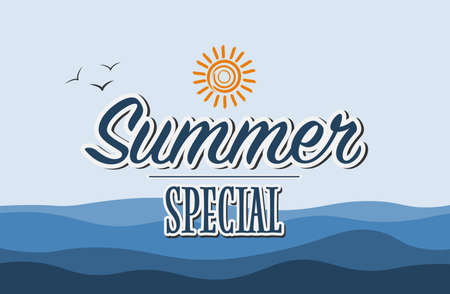 text Summer Special on blue maritime background vector illustration Archivio Fotografico - 129789811