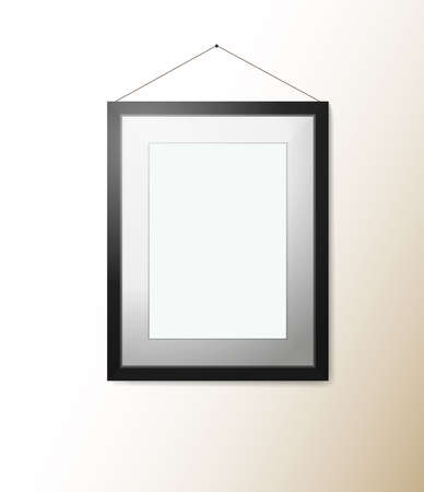 empty rectangular picture frame with shadow on wall vector illustration
