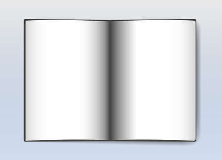 blank white pages open book with shadow vector illustration
