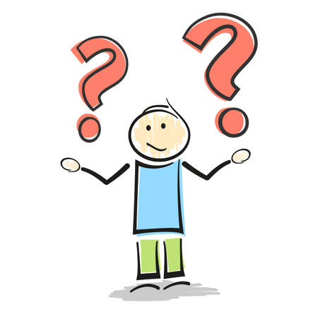 confused stickman character making shrug gesture with question marks vector illustration