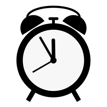 simple flat black and white classic alarm clock icon vector illustration