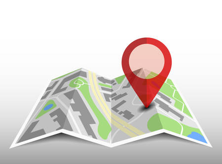 generic folded map with location pin and shadow vector illustration