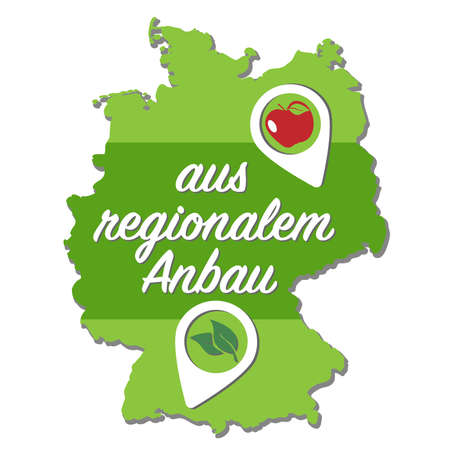 outline of map of Germany with text AUS REGIONALEM ANBAU, German for locally grown, and location marker vector illustration