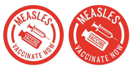 red measles vaccination stickers or stamps with syringe and vaccine icon