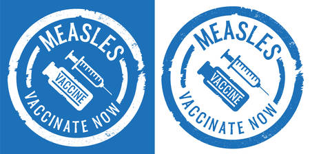 blue measles vaccination rubber stamp prints with syringe and vaccine icon