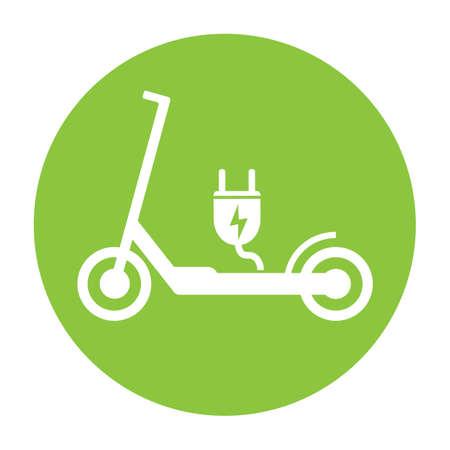 Símbolo de e-scooter de scooter eléctrico con ilustración de vector de enchufe