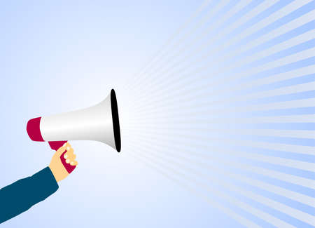 hand holding megaphone or bullhorn against light blue background vector illustration Фото со стока - 129789989
