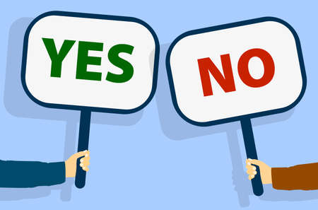hands holding up signs with words YES and NO vector illustration Фото со стока - 129789993