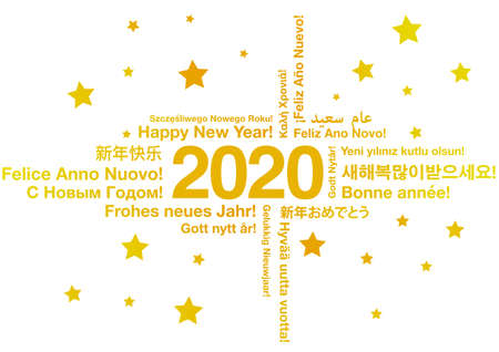Happy New Year 2020 in different languages greeting card concept