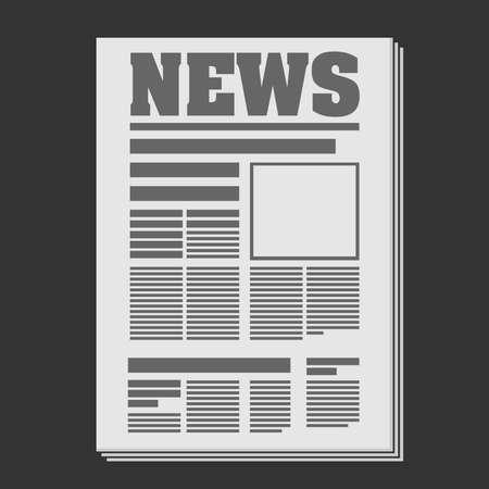 flat grey newspaper symbol or icon vector illustration  イラスト・ベクター素材
