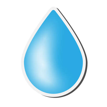 blue waterdrop symbol sticker or badge on white background vector illustration 写真素材 - 129789914