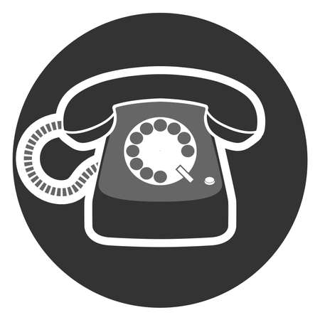 rotary dial operated telephone icon or symbol vector illustration