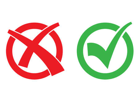 icon set with check mark and cross in red and green circle vector illustration  イラスト・ベクター素材