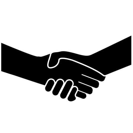 simple flat black and white handshake icon or symbol vector illustration Illusztráció