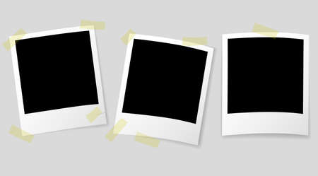 old retro-style instant picture frames with semi-transparent shadows and adhesive tape vector illustration