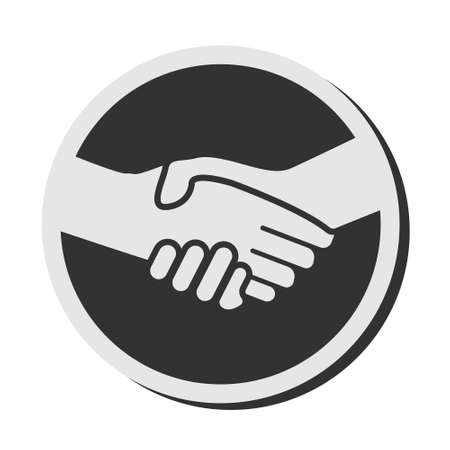 simple round handshake icon or badge vector illustration Illusztráció