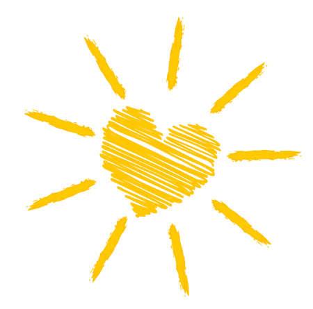 bright orange yellow sun icon or symbol vector illustration Illustration