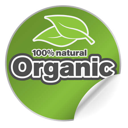 round green organic 100 percent natural adhesive sticker or badge with one side curled up vector illustration