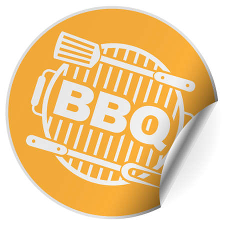 round barbeque BBQ sticker or badge one side curled up vector illustration