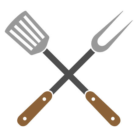crossed kitchen utensils, grill fork and slotted spatula, vector illustration Ilustración de vector