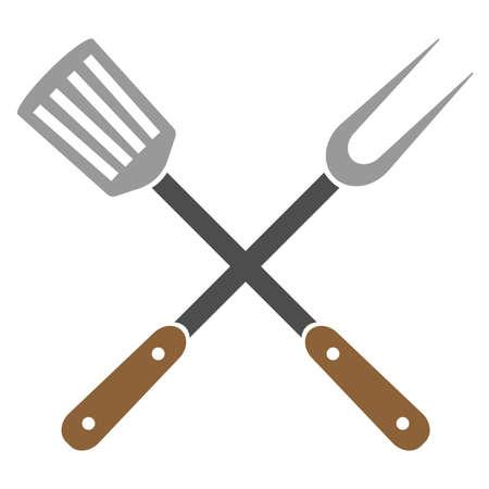 ustensiles de cuisine croisés, fourchette à griller et spatule à fentes, illustration vectorielle Vecteurs