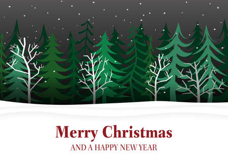 Merry Christmas and Happy New Year greeting card with snowy landscape and woods vector illustration