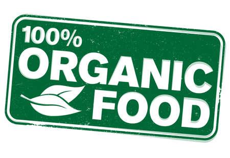 green rectangular 100 percent organic food rubber stamp vector illustration