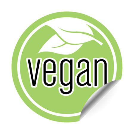 round green vegan sticker or badge one side curled up, vegan food label vector illustration  イラスト・ベクター素材