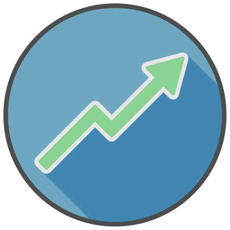 economic growth or business success symbol, upwards tending chart