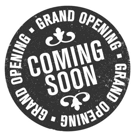 grungy round GRAND OPENING COMING SOON rubber stamp print vector illustration