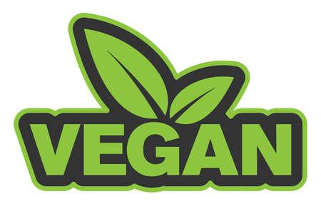 green vegan badge or sticker with leaves vector illustration