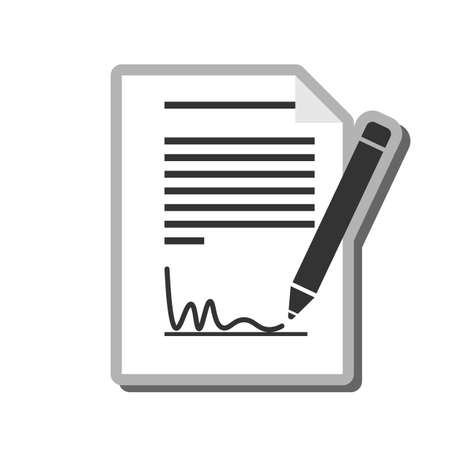 simple black and white signing document icon or symbol vector illustration