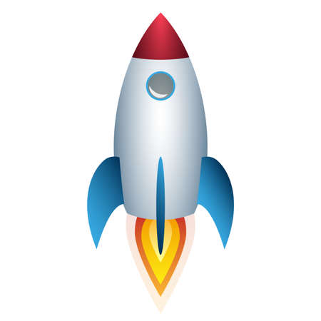 colorful space rocket in flight isolated on white vector illustration
